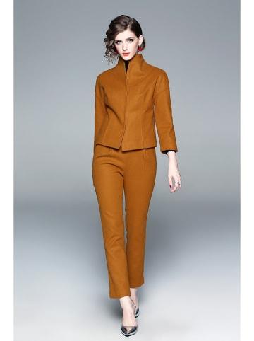 Zeraco 2- częściowy zestaw w kolorze musztardowym - żakiet, spodnie