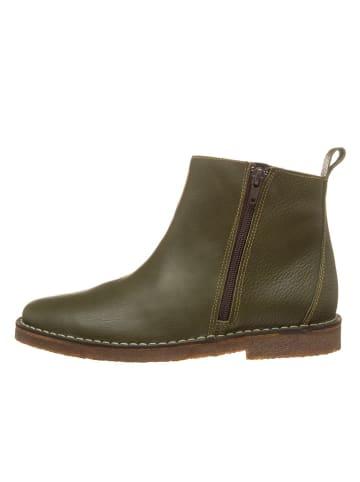 Kmins woman Leder-Boots in Khaki