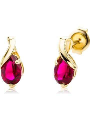 Revoni Złote kolczyki-wkrętki z rubinami