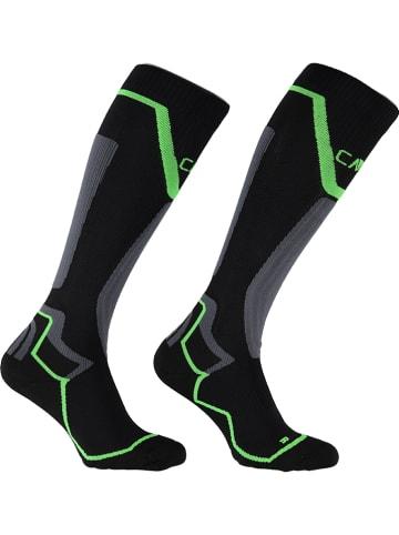 CMP Skarpety narciarskie w kolorze czarno-szaro-zielonym