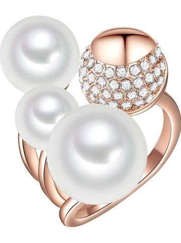 Perldesse Rosévergold. Ring mit Perlen und Edelsteinen