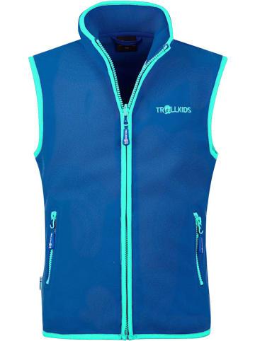 "Trollkids Fleece bodywarmer ""Arendal"" blauw/turquoise"