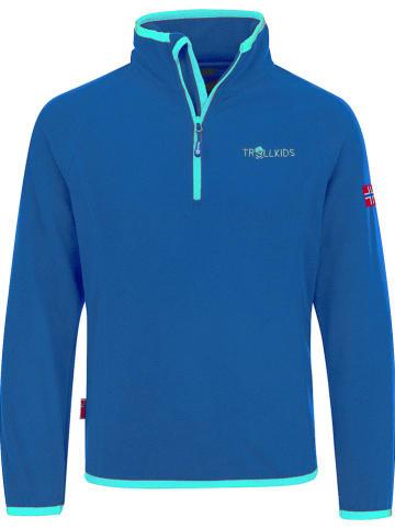 """Trollkids Fleece trui """"Nordland"""" blauw/turquoise"""