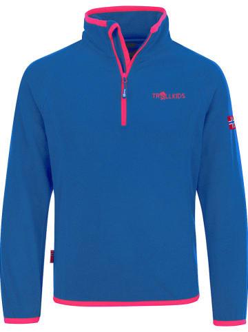 """Trollkids Fleece trui """"Nordland"""" blauw/roze"""