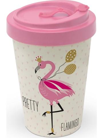 "Ppd To-go beker ""Pretty flamingo"" lichtroze/crème - 400 ml"