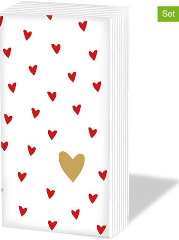 """Ppd Chusteczki (60 szt.) """"Little Heartsi"""" w kolorze biało-czerwonym - 6 x 10 szt."""
