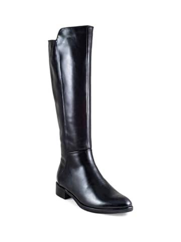 Vanessa Leren laarzen zwart