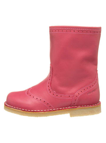 POM POM Skórzane botki w kolorze różowym