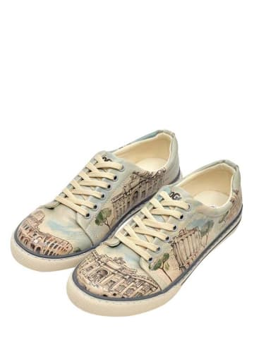 """Dogo Sneakers """"All Roads Lead to Rome"""" beige/lichtblauw"""