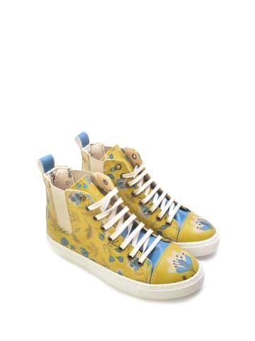 Goby Sneakersy w kolorze żółtym ze wzorem