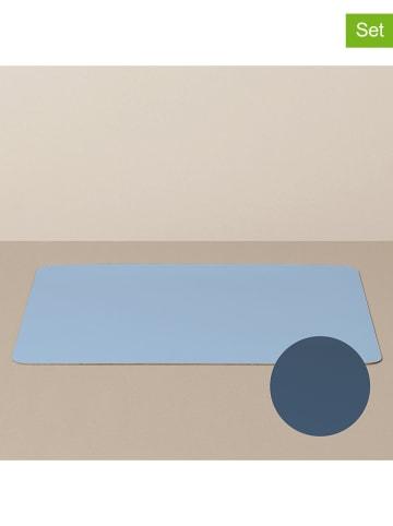 Livø 4-delige set: dienbladplacemats lichtblauw/donkerblauw - (L)39,5 x (B)33,5 cm