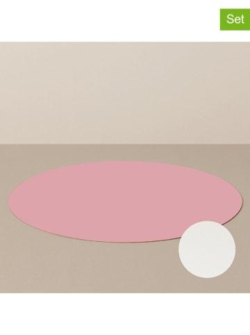 Livø Podkładki (4 szt.) w kolorze różowo-białym - Ø 39 cm