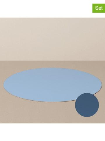 Livø 4-delige set: placemats lichtblauw/donkerblauw - Ø 39 cm
