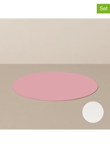 Livø Podkładki (4 szt.) w kolorze różowo-białym - Ø 29 cm