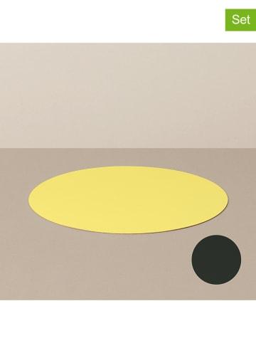 Livø 4-delige set: placemats geel/zwart - Ø 29 cm