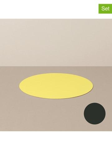Livø Podstawki (4 szt.) w kolorze żółto-czarnym - Ø 10 cm