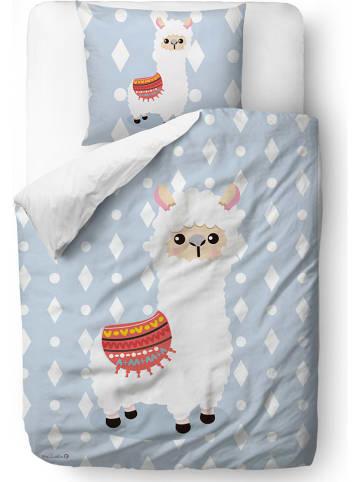 """Mr Little Fox Satijnen beddengoedset """"Little Lama"""" lichtblauw"""