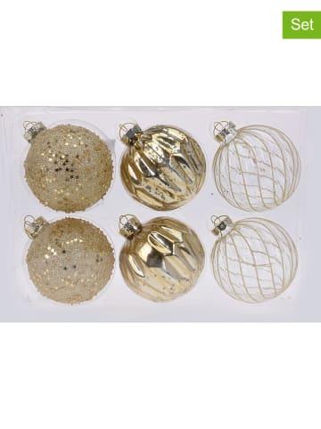 Koopman 6-delige set: kerstballen goudkleurig - Ø 8 cm