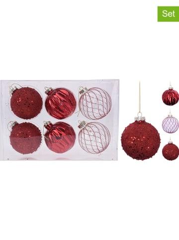 Koopman 6-delige set: kerstballen rood - Ø 8 cm