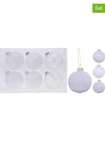 Koopman 6-delige set: kerstballen wit - Ø 8 cm