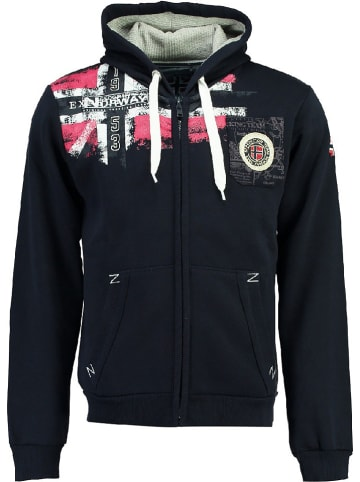 """Geographical Norway Sweatvest """"Fespote"""" donkerblauw"""