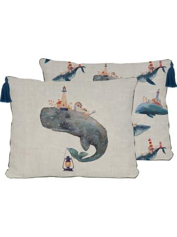 "Really Nice Things Kissenhülle ""Whale"" in Beige/ Blau - (L)50 x (B)35 cm"