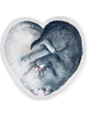 """Little nice things Kissen """"Cat Heart"""" in Grau - (L)42 x (B)21 cm"""