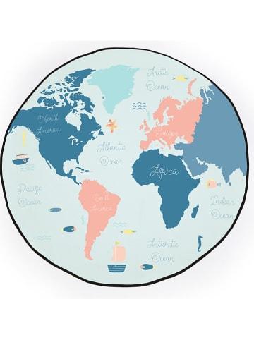 """Madre Selva Kids Teppich """"Blue Worldmap"""" in Blau - Ø 120 cm"""