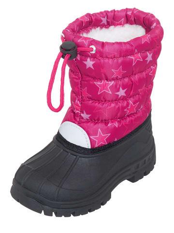 Playshoes Botki zimowe w kolorze różowo-czarnym