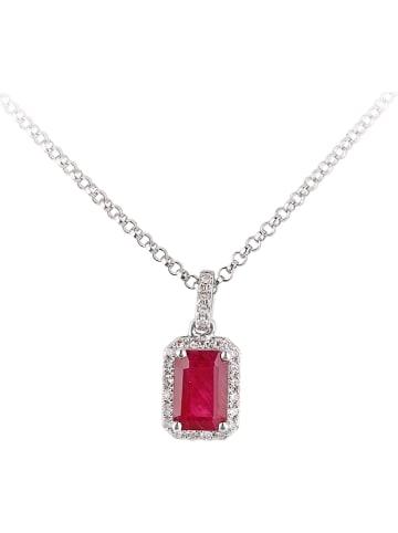 Revoni Witgouden ketting met diamanten hanger - (L)40 cm