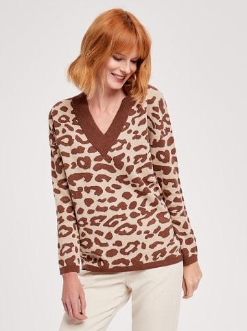 ZOCHA Sweter w kolorze beżowo-brązowym ze wzorem