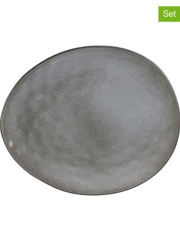 Rétro Chic 12-delige set: dinerborden grijs - (L)27,5 x (B)23 cm