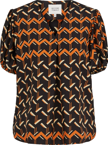 "SECOND FEMALE Blouse ""River"" zwart/oranje"