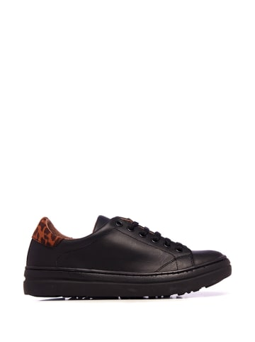 Maria Barcelo Skórzane sneakersy w kolorze czarnym