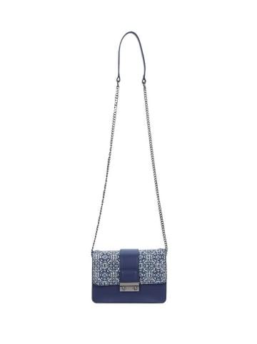Wojas Skórzana torebka w kolorze niebieskim - (S)19 x (W)13 x (G)8 cm