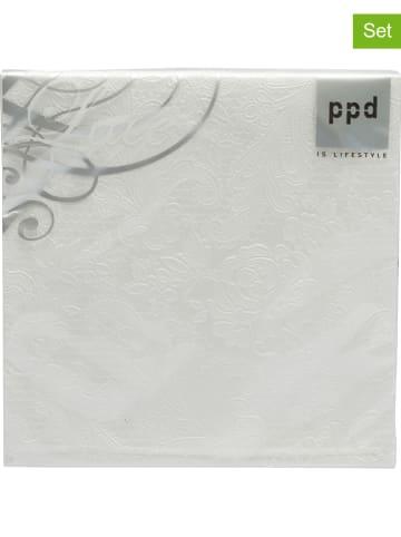"""Ppd 2-delige set: servetten """"Lace Pearl"""" wit - 2x 15 stuks"""