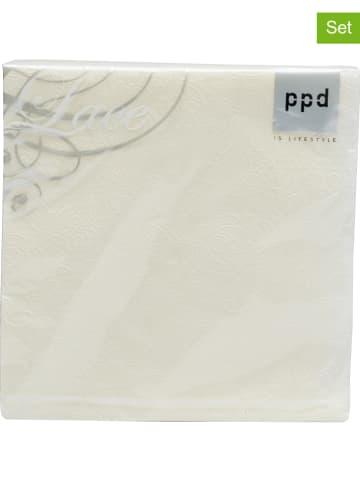 """Ppd 2-delige set: servetten """"Lace Ivory"""" crème - 2x 15 stuks"""