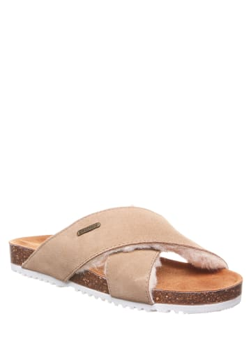 "Bearpaw Leren slippers ""Britton"" beige"