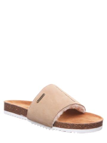 """Bearpaw Leren slippers """"Bettina"""" beige"""