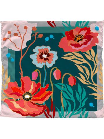 """Madre Selva Satijnen bandana """"Lagoom Garden"""" groen/meerkleurig - (L)55 x (B)55 cm"""