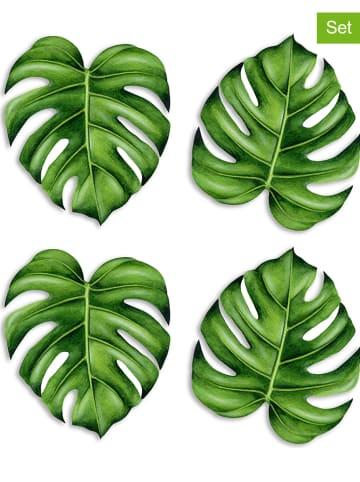 """Really Nice Things Podkładki (4 szt.) """"Monstera"""" w kolorze zielonym - Ø 12 cm"""