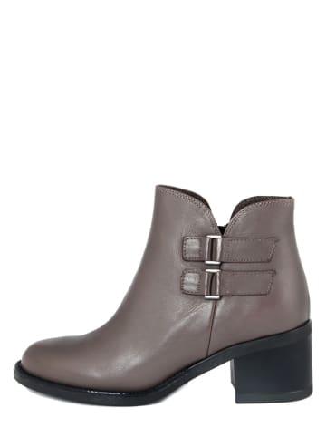 PAOLA FERRI Leder-Ankle-Boots in Grau