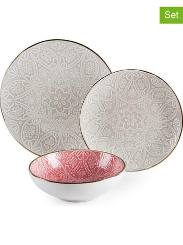"Trendy Kitchen by EXCÉLSA 18tlg. Tafelservice ""Versailles"" in Rosa/ Grau"
