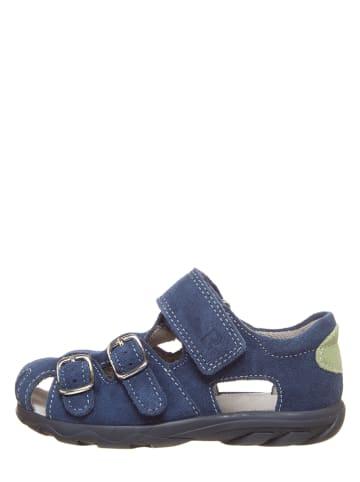Richter Shoes Leder-Halbsandalen in Blau