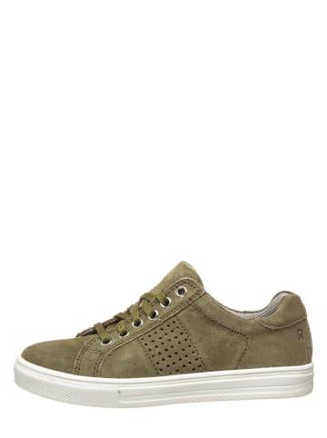 Richter Shoes Skórzane sneakersy w kolorze khaki
