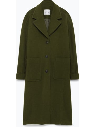 "American Vintage Wollen mantel ""Louping"" donkergroen"