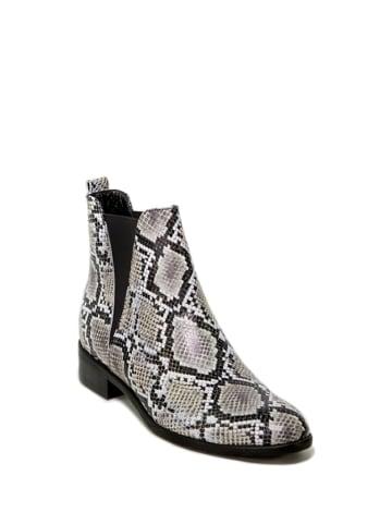 Vanessa Leder-Chelsea-Boots in Schwarz/ Weiß