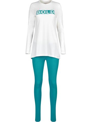 Skiny Pyjama wit/turquoise