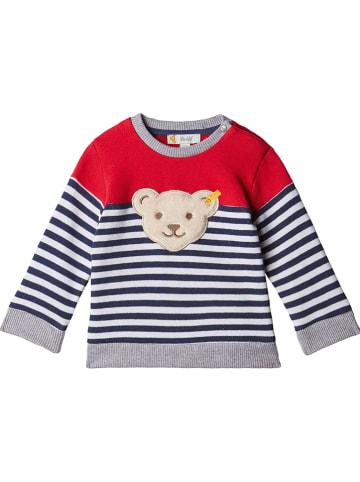 Steiff Sweatshirt in Rot/ Dunkelblau/ Weiß