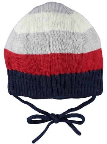 Steiff Dzianinowa czapka w kolorze czerwono-szaro-granatowym